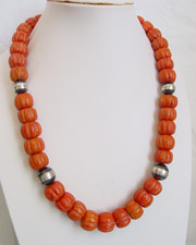 Schaef Designs Large Coral & Navajo Pearl Necklace | New Mexico