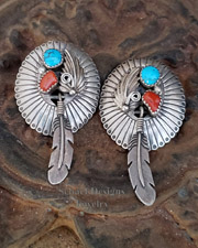 Turquoise & Sterling Silver Long Feather POST Earrings| Schaef Designs | New Mexico