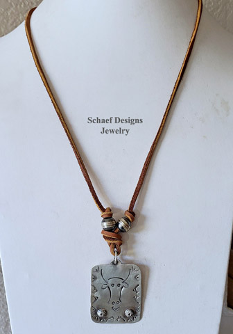 Schaef Designs 1940's Cow Steer Skull stamped sterling silver over sized dog tag pendant on leather necklace with Navajo Pearls | Arizona