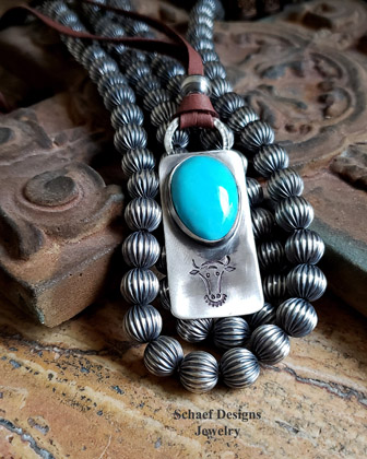 Schaef Designs Fred Harvey style Nacosari Turquoise & Sterling silver cow Dog Tag Pendant on Deerskin Lace Necklace | Arizona