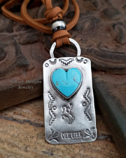 Schaef Designs Turquoise Heart & Sterling Silver Equestrian Deerskin Dog Tag Necklace | Arizona
