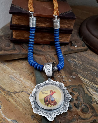 Schaef Designs Denim Lapis Braided Deerskin & Sterling Silver Southwestern Necklace | Arizona