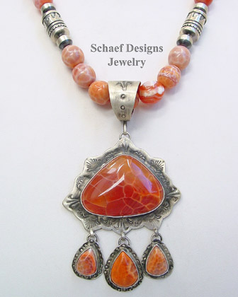 Schaef Designs crab fire agate & sterling silver Southwestern Pendant | New Mexico