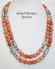 Schaef Designs Crab Fire Agate Tube Bead Necklaces | Southwestern Basics | New Mexico