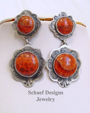 Schaef Designs Crabfire Agate Hand Stamped Sterling Silver POST Earrings | New Mexico