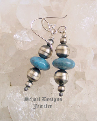 Schaef Designs Dark Blue Denim Lapis & Sterling Silver Navajo Pearl Bench Bead Wire Earrings | New Mexico