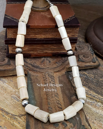 Schaef Designs carved fossilized mammoth ivory horse wolf totem animal shaman necklace on oxidized sterling silver 10mm bead necklace | New Mexico
