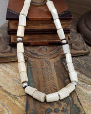 Schaef Designs deer antler & 10mm oxidized bench bead necklace | New Mexico