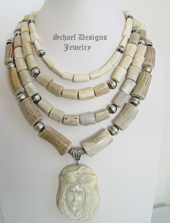 Schaef Designs deer antler shed necklace pairings with carved Indian Maiden necklace | New Mexico