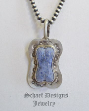 Schaef Designs Dumortierite Denim & Sterling Silver Dog Bone Pendant | New Mexico