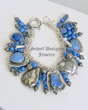 Schaef Designs Denim Lapis & Sterling Silver Charm Bracelet | New Mexico