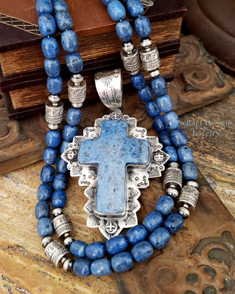 Schaef Designs Stacked Denim Lapis & Sterling Silver Southwestern Cross Pendant | New Mexico