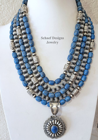 Schaef Designs denim lapis & fluted sterling silver Navajo Pearl  necklace pairing with Denim Lapis Concho VJP pendant | Arizona