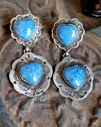 Schaef Designs Denim Lapis & Stamped Sterling Silver Double Heart Southwestern Post Earrings | New Mexico