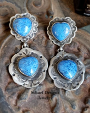 Schaef Designs denim lapis & sterling silver heart POST Earrings | New Mexico