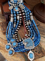 Schaef Designs denim lapis and sterling silver tube bead multi strand long necklaces with Vince Platero LARGE sterling silver heart pendant | New Mexico