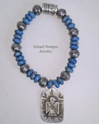 Schaef Designs Sleeping Beauty Turquoise & Sterling Sivler Navajo Pearl Southwestern Bracelet Set | New Mexico