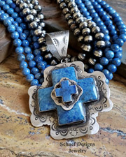 Schaef Designs Denim Lapis & Sterling Silver Southwestern Stacked Cross Pendant | New Mexico