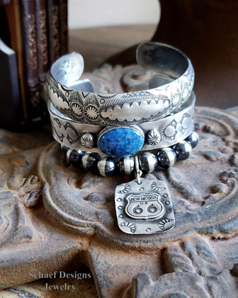 Schaef Designs denim lapis & stamped sterling silver Old Style Southwestern Bobho Stacking Bracelet cuff | Arizona