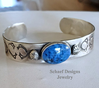 Schaef Designs denim lapis & stamped sterling silver Old Style Southwestern Boho Stacking Bracelet cuff | Arizona