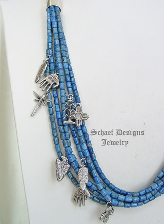 Schaef Designs denim lapis & sterling silver treasure necklace with tufa cast charms | New Mexico