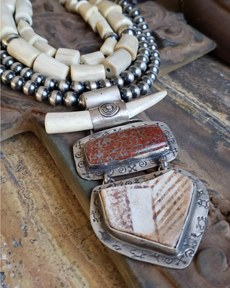 Schaef Designs pottery shard, antler, chinese writing stone, & sterling silver Southwestern pendant | New Mexico