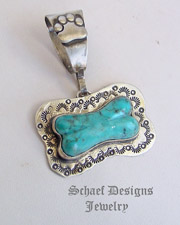 Schaef Designs Turquoise & Sterling Silver Dog Tag Bone Pendant | New Mexico