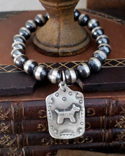 Schaef Designs Sterling Silver Navajo Pearl Fred Harvey Style Dog Tag Charm Bracelet| Arizona
