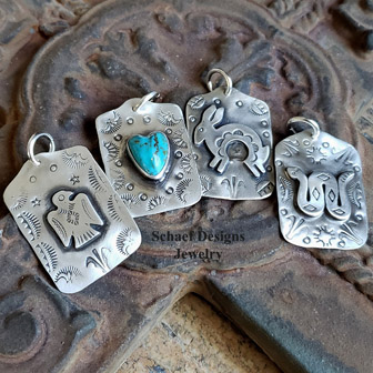 Schaef Designs Old Fred Harvey Style Stamped Sterling Silver Rabbit dog tag | Arizona