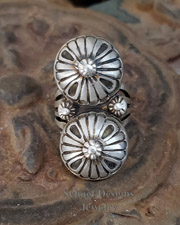 Double Rosette Sterling Silver Ring Size 8.5 | New Mexico