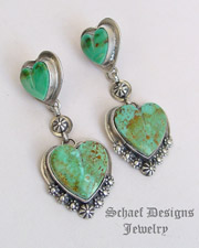 Schaef Designs Turquoise Hearts & Sterling Silver Dangle POST Earrings | New Mexico