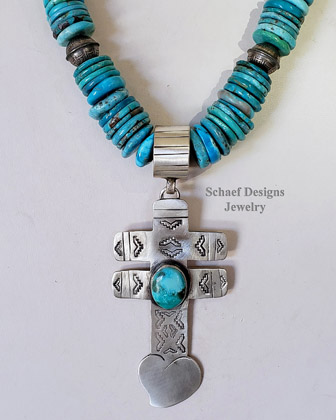 Schaef Designs LARGE Nacosari Turquoise &Sterling Silver Heart Dragonfly Cross Southwestern Pendant | Arizona