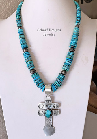 Schaef Designs LARGE Nacosari Turquoise & Sterling Silver Heart Dragonfly Cross Southwestern Pendant | Arizona