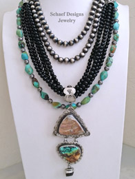 Schaef Designs Druzy Turquoise Black Onyx & Sterling Silver Necklace Pairings NEW | New Mexico