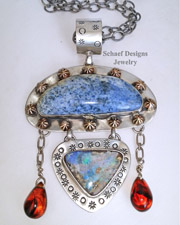 Schaef Designs Dumortierite Boulder Opal Amber & Sterling Silver Pendant | New Mexico