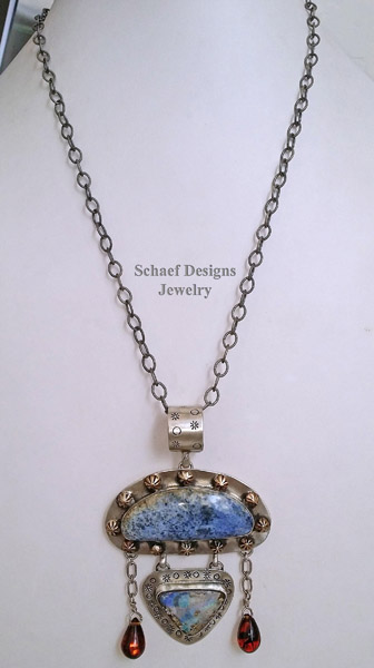 Schaef Designs dumortierite, opal, amber and sterling silver Southwestern pendant | New Mexico