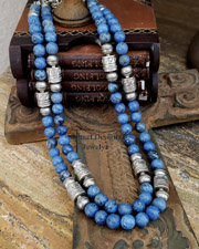 Schaef Designs Dumortierite & Sterling Silver Tube Bead Necklace Set Southwestern Basics | New Mexico