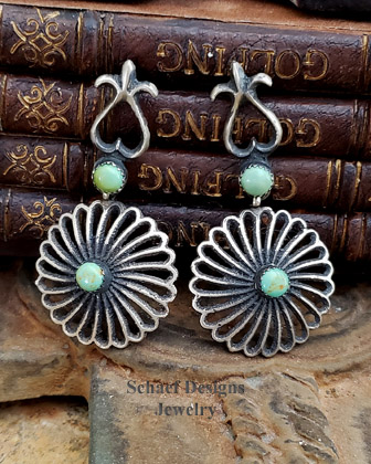 Eva & Lindberg Green Turquoise & sterling silver flower Post Earrings | Schaef Designs | New Mexico