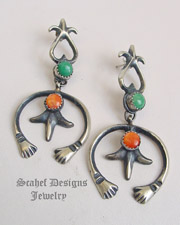 Schaef Designs Red Coral Black Onyx & Sterling Silver Cardinal Squash Blossom Charm Bracelet | Schaef Designs | New Mexico