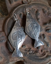 Rare artist signed Dan Tlingit halibut sterling silver earrings | upscale online Southwestern Equine Native American Turquoise Jewelry Gallery Boutique | Schaef Designs artisan hand-crafted Jewelry | New Mexico
