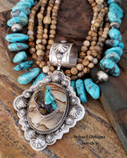 Schaef Designs carved Turquoise Frog on Picture Jasper & Sterling Silver Southwestern totem animal pendant | New Mexico