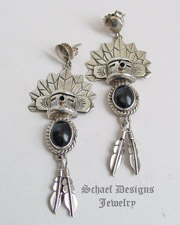 Gary G Sanchez Black Onyx & Sterling Silver POST Earrings | Schaef Designs Southwestern & turquoise Jewelry | New Mexico