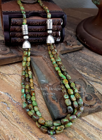 Schaef Designs gaspeite green turquoise & sterling long multi necklace | Southwestern Basics Collection | New Mexico