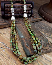 Schaef Designs Gaspeite Green Turquoise  & Sterling Silver Long Multi Strand Southwestern Basics Necklace | New Mexico