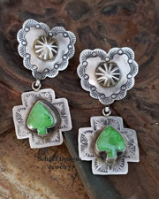 Schaef Designs Gaspeite Spade on Sterling Silver Reversible Heart Crosspath Earrings | New Mexico