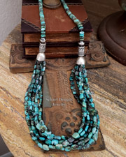 Schaef Designs Blue Turquoise Nugget & Sterling Silver Navajo Pearl Necklaces | New Mexico