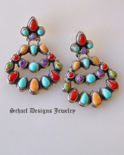 Multi stone chandelier native american post earrings artist signed by Geneva J A rite coral gaspeite turquoise & spiny oyster shell | Schaef Designs |New Mexico