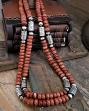 Schaef Designs Goldstone & Sterling Silver Tube Bead Necklace Set | New Mexico