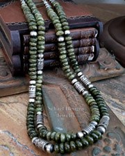 Schaef Designs Gossular Garnet & Sterling Silver Tube Bead Necklaces | New Mexico