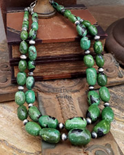Schaef Designs Green & Black Large Pebble Turuqoise & Sterling Silver Navajo Pearl Necklaces | New Mexico